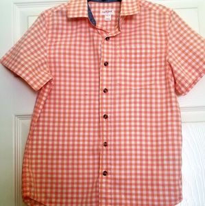 Boys Orange Gingham Button Down